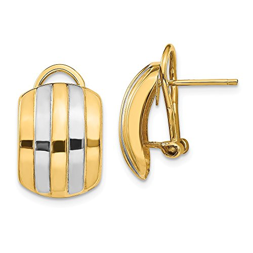 - Roy Rose Jewelry 14K Yellow Gold & Rhodium Ribbed Omega Back Post Earrings ~ 12mm width