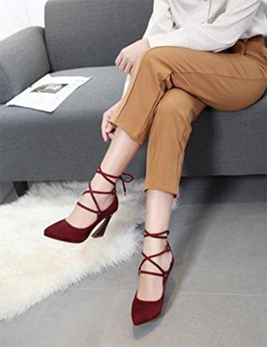 Aisun Damen Sexy Geschlossen Pointed Toe Low-Cut Schnürung Blockabsatz Pumps Weinrot