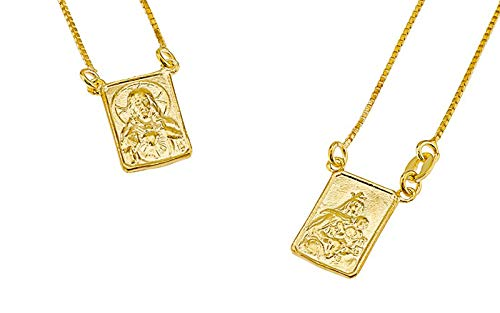 FRONAY 14k Gold Plated Silver Escapulario Necklace, Double Sided, Religious Fine Jewelry (Yellow-Gold-Plated-Silver) from Fronay Collection