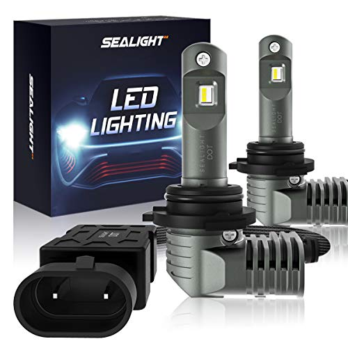 - 9005/HB3 LED Headlight Bulbs 1:1 Design High Beam with Fan, SEALIGHT S2 Series Upgraded CSP Chips 7600LM 6000K Cool white IP67-2 Year Warranty (2 Pack)