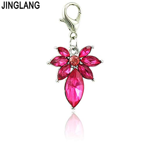 ot Charms with Lobster Clasp Dangle Rose Plastic Crystal Grape DIY Charms for Jewelry Making Accessories - by Mct12-1 PCs ()