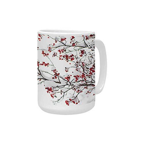 InterestPrint Red Rowan Berry Ceramic Coffee Travel Mug 15 Oz, Mug Funny for Coffee, Tea, Cocoa, Milk and Juice