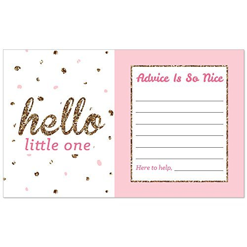 Pink and Gold Big Dot of Happiness Hello Little One Girl Baby Shower Advice Cards 18 Count Mommy Advice Cards
