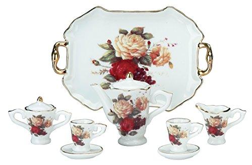 Miniature Collectible MULTICOLOR ROSES Porcelain Tea Set: Teapot, Sugar Bowl, Creamer, 2 Teacups, Serving Platter