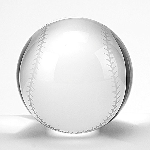 Waltz&F Clear Crystal Baseball Ball Paperweight with Base Stand Crystal Collectible Figurines Approx 1.57