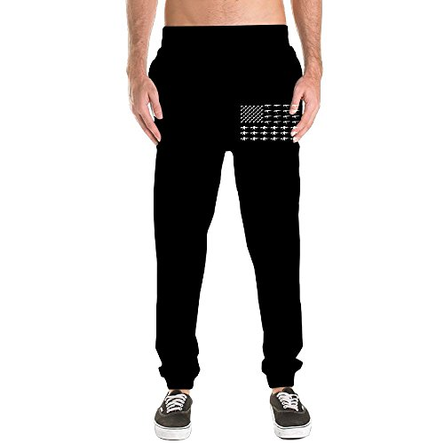 Wxf Men's Black American Flag Made With Guns-01 Black Casual Style Jogging Fleece Pants M Adjustable Sweatpants