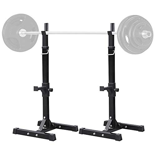 Yaheetech Adjustable Squat Rack/Stand and Olympic Incline/Flat Barbell Bench Press Set Workout Weights Rack/Stand Pair