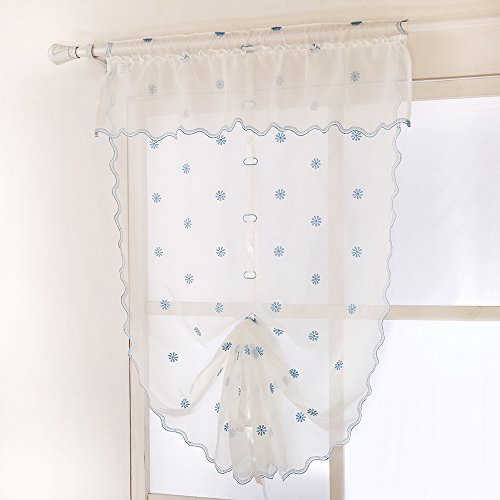 ZHH Handcrafted Fresh Flora Flowers Embroidered Sheer Roman Shade Curtain 32 by 55-Inch, White on Blue Snowflake (Blue And White Roman Shades)