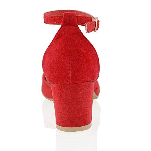 ESSEX GLAM Sintético Sandalias de salón de tacón medio cuadrado con tira al tobillo y hebilla Rojo Gamuza Sintética