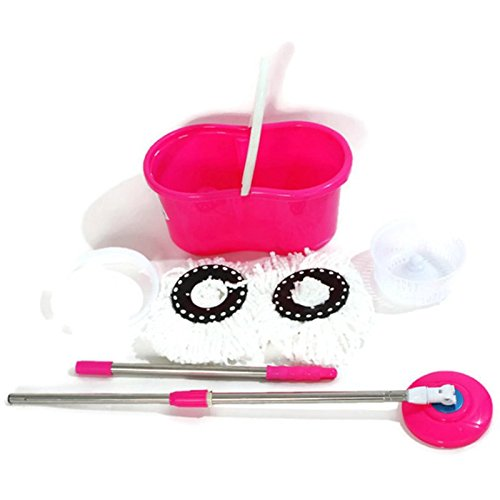 360° Rotating Head Easy Magic Floor Mop Bucket 2 Head Microfiber Spinning Pink TKT-11