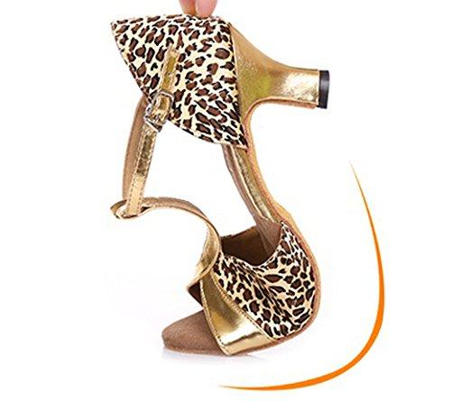 Abby 919 Donna T-strap Scarpe Da Ballo Latino Cocktail Party Rilassante Casual Peep Toe Rumba Tacco Medio Traspirante Moderno Leopard ...
