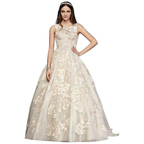 Oleg Cassini High Neck Tank Lace Wedding Dress Style CWG658, Ivory, 10