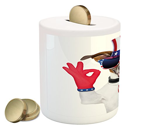 Ambesonne 4th of July Piggy Bank, Jack Russell with an Uncle Sam Hat Gloves and Giant Sunglasses Celebrating, Printed Ceramic Coin Bank Money Box for Cash Saving, Multicolor