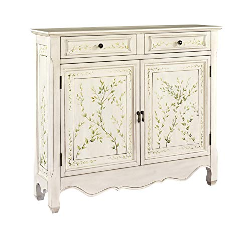 - Powell White Hand Painted 2-Door Console