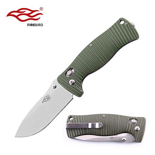 Knife Classic Bowie (Folding Pocket Knife F720 Firebird by Ganzo G720 Bowie Folding Fishing Knife G-10 Handle SS Blade (Green))