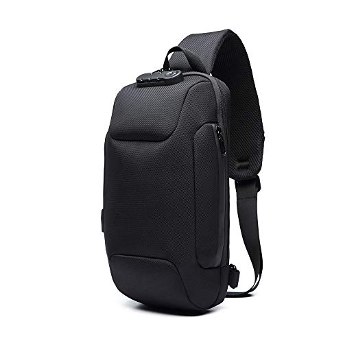 (GHF Leisure Men Shoulder Bags Chest Pack Crossbody Bag with USB Charging Port Waterproof Oxford Cloth Chest Pack,Black )