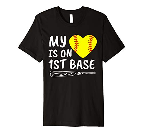 My Heart Is on 1st Base Softball Bat Proud Mom Dad Gift Premium T-Shirt
