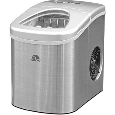 Igloo Counter Top Ice Maker, Produces 26 pounds Ice per Day, Stainless Steel with White See-through Lid (Certified Refurbished)