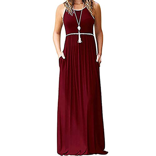Gibobby Womens Summer Contrast Sleeveless Long Maxi Dresses Tank Top Floral Print Maxi Dress (M, y1-red)