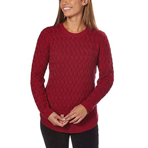 - Jeanne Pierre Women's Fisherman Cable-Knit Sweater (Red Currant, X-Large)
