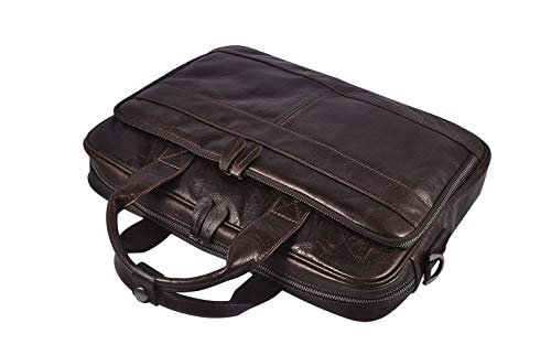 Men's Genuine Leather Messenger Bag Vintage Attache Case Shoulder Crossbody Business Briefcases Fit 14'' Laptop, Coffee by Laura Wales (Image #1)