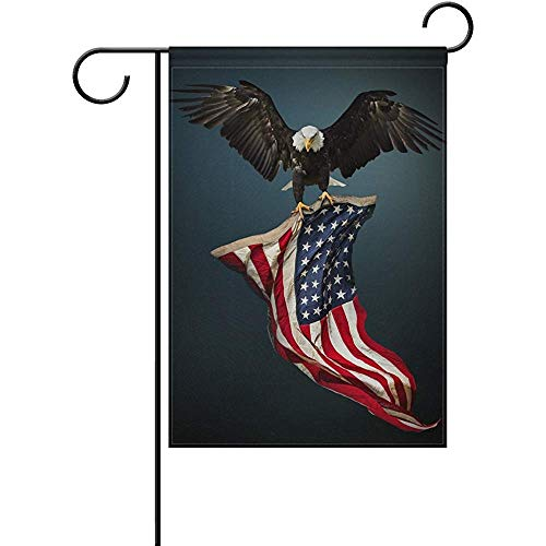 Garden Flag American Bald Eagle USA Flag Patriotic Eagle Fourth of July Independence Day Spring Summer Yard Outdoor Decorative 12 x 18 Inch
