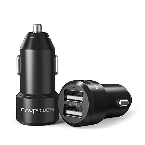 RAVPower Car Chargers [2 Pack] 24W 4.8A Metal Dual USB Car Adapter with iSmart 2.0, Compatible iPhone Xs Max XR X 8 7 Plus, Ipad Pro Air Mini, Galaxy S9 S8 S7 Edge Note, Nexus, LG, HTC and More