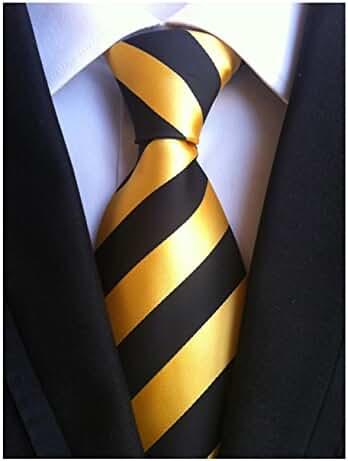 MENDENG New Men Large Striped Blue Gray Jaquard Woven Silk Necktie Business Tie