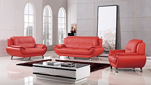 - American Eagle Furniture Highland Home Collection Complete 3 Piece Living Room Leather Sofa Set, Red