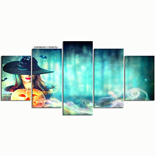 PENGTU Paintings Modern Canvas Painting Wall Art Pictures 5 Pieces Halloween Witch Magic Pumpkin Dark Forest Wall Decor HD Printed Posters Frame