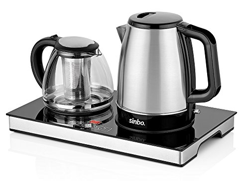 Sinbo STM 5815 Electric Machine Tea Maker With Kettle Tea, and Tea Pot Set, with Digital Glass, Teapot 1.5Lt, Kettle 1.7Lt, Machine Tea Tray Electric, and tea Filter, Stainless Steel (Electric Tea Kettle With Tray)