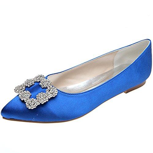 Loslandifen Scarpe Eleganti Da Donna Ballerine Pionted Da Donna (2046-06chouduan35, Blu)