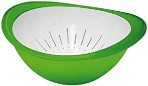 Omada Trendy Bowl and Colander Set, Green Grass, Large