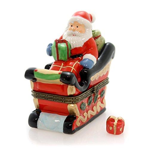 Christmas Sleigh Box - Art Gifts Christmas Santa Sleigh Holiday Trinket Box phb