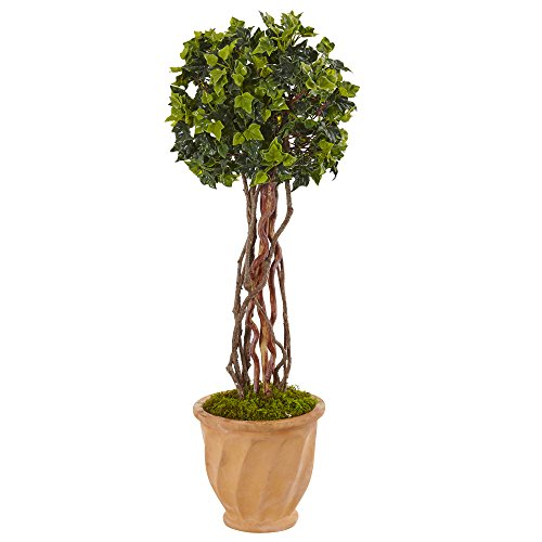 Nearly Natural 3' English Ivy Artificial Tree in Terracotta Pot, Green (Cotta Pot Terra Artificial)
