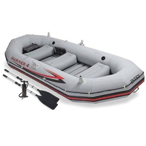 Bote Inflável Intex Mariner 4 C/Par Remos Bomba Barco Pesca