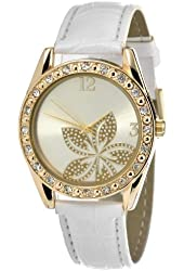 FMD Gold-Tone Dial Stainless Steel White Leather Quartz Ladies Watch FMDCT260