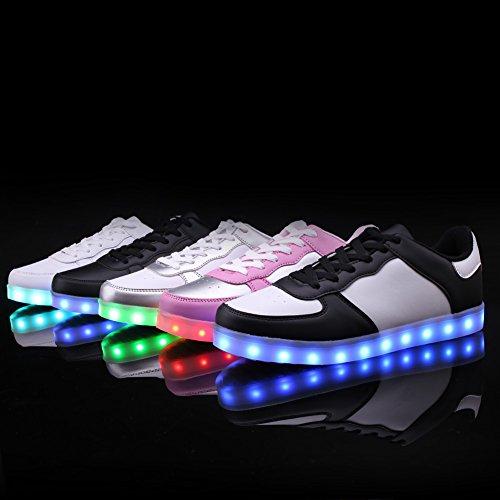 Ryanmay Ragazzi Ragazze E Bambini Notte Lucente Led Light Up Scarpe Usb Ricarica Sneakers Lampeggianti Per Bambini In Bianco E Nero