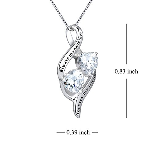 MUATOGIML 925 Sterling Silver Always My Daughter Forver My Friend Double Love Heart Pendant Necklace, 18'' Box Chain by MUATOGIML (Image #1)