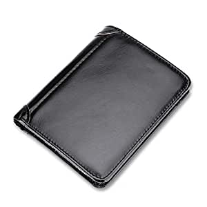 Men's Genuine Leather Wallet, Luxury Soft Smooth Genuine Leather Wallet Credit Card Slots with 9 Credit Cards Holder, 1 Clear ID Window, 6 Addition Slots (Black)