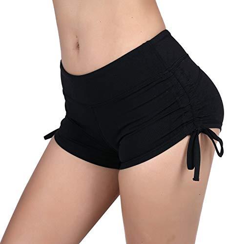 KNEEDARKYEAR Womens Stretch High Waist Athletic Yoga Shorts (Large, KD1115 Black)