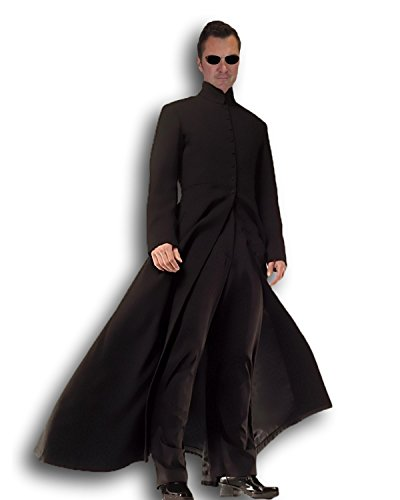 (Rubber Johnnies Cybe Man Costume, Trench Coat , Long Black Coat , Robe , Adult)