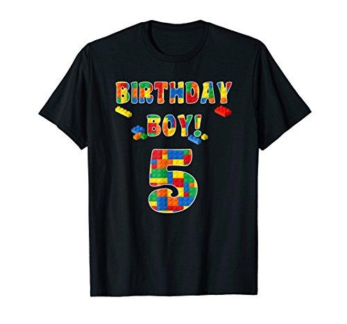 Building Block Birthday Boy Turning 5 T-Shirt