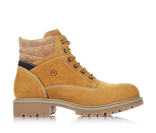 NERO GIARDINI - Chaussure à lacets ocre, en nabuk, avec fermeture éclair latérale, pièces en suède, logo latéral, coutures visibles, garçon, garçons