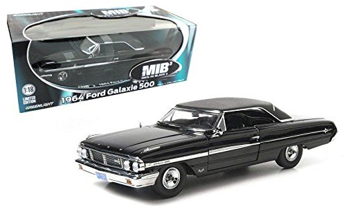 New 1:18 MAN IN BLACK 3 1964 Black FORD GALAXIE 500 AGENT Diecast Model Car By - In Black Agent Men