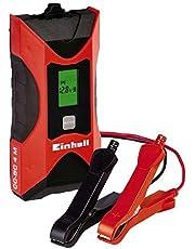 Einhell 1002221 Cargador Bateria CC-BC 4 m con Control Micro-Processor Voltaje 6/12v, Negro, Rojo