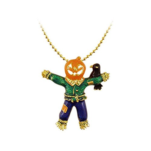 Halloween pumpkin scarecrow with crow handcasted handpainted Vintage Inspired NEW Gift Charm Necklace RSN1369 ()