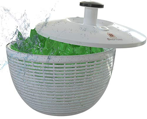 Brieftons QuickDry Salad Spinner: Large 6.2 Quart Lettuce Greens Washer