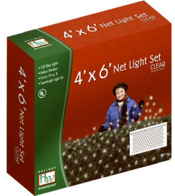 (12) ea Noma/Inliten Holiday Wonderland 48950-88 150 Count 4' x 6' Clear Net Style Christmas Lights by Holiday Wonderland