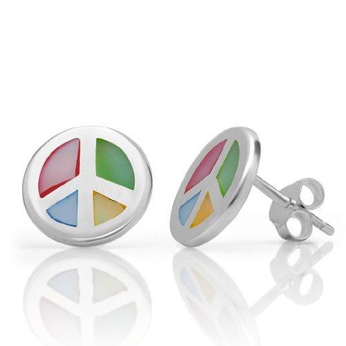 Hippie Rainbow Peace Earrings (925 Sterling Silver Multi-Colored Mother of Pearl Peace Sign 13 mm Post Stud Earrings - Nickel Free)